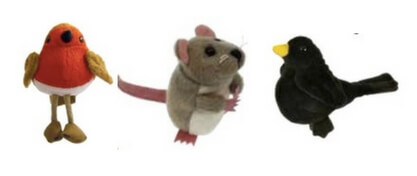 Mouse, robin and blackbird finger puppets