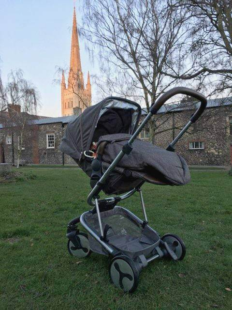 BabyStyle Hybrid City Stroller in front of Norwich Cathedral, BabyStyle Hybrid Pushchair, Hybrid City pram, BabyStyle City pram,