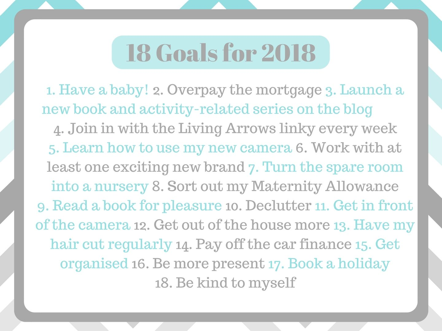 New Years Resolutions; Goals for 2018