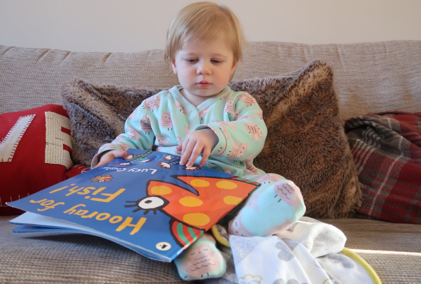 M sitting on the sofa reading 'Hooray for Fish!' by Lucy Cousins