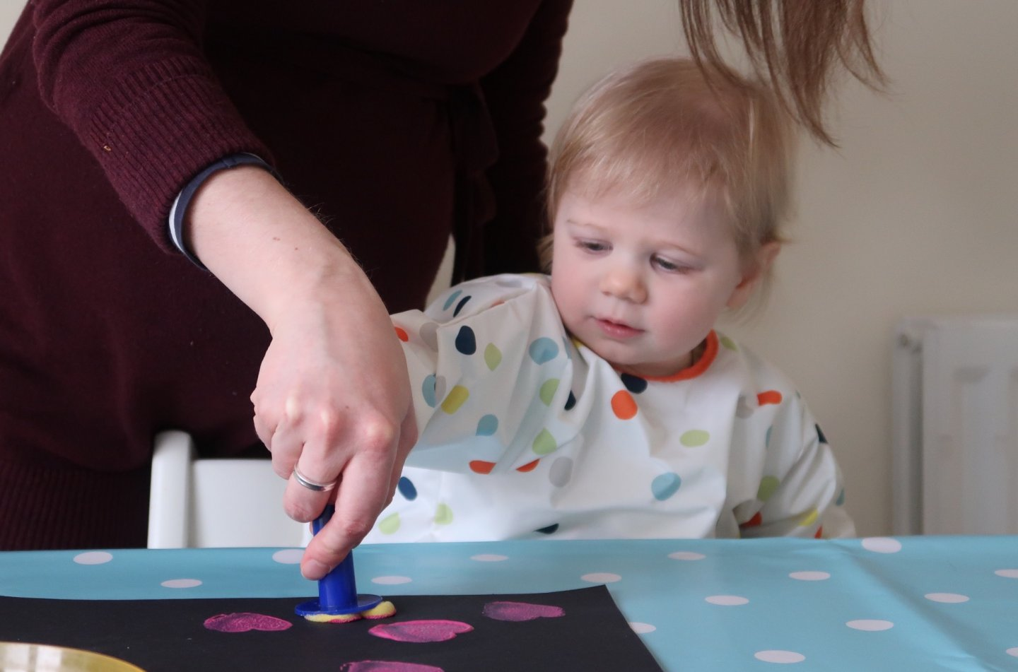 M printing paint hearts with mummy's help
