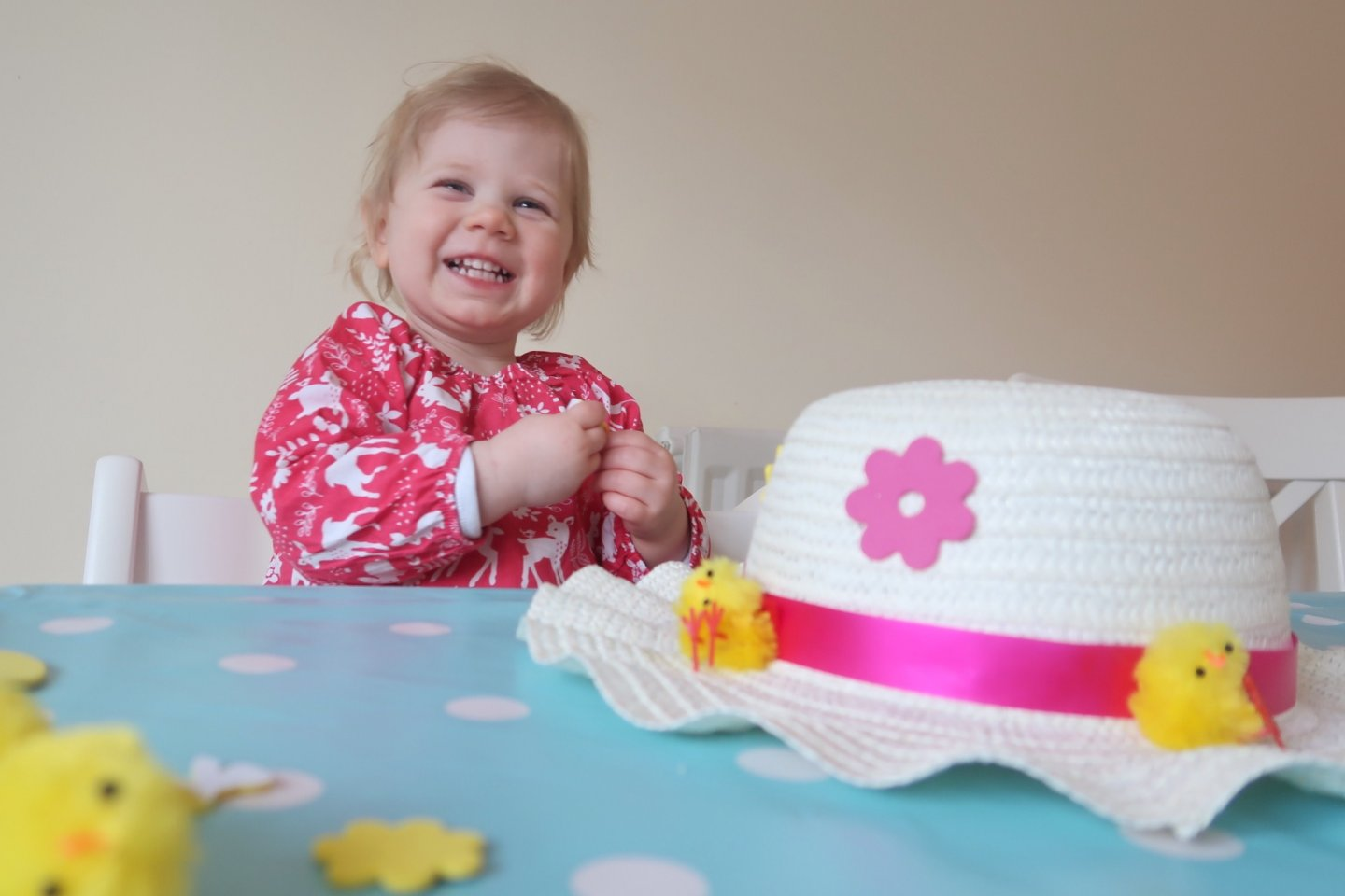 Easter bonnet craft activity with foam stickers