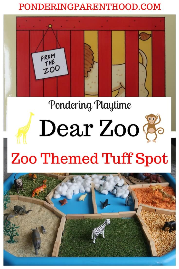 Dear Zoo Sensory Tuff Spot - a great zoo themed tuff spot touch and feel EYFS activity