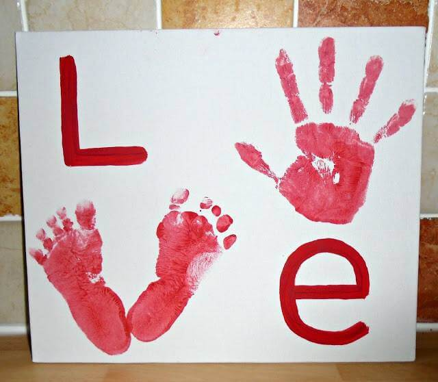 Hand and footprint love canvas