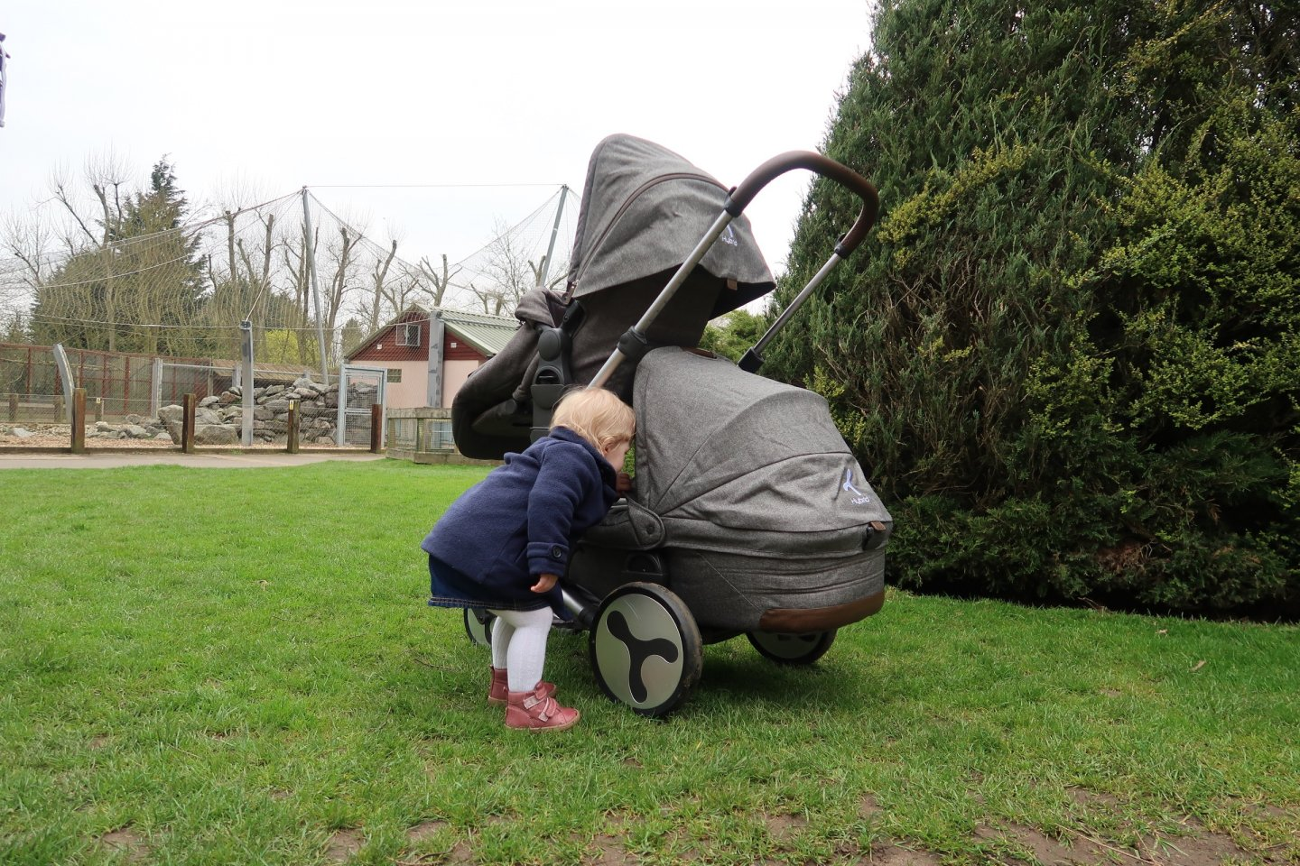 M checking on B in her carrycot