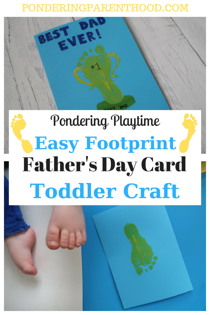 Show Daddy he's a champion with this super easy footprint father's day toddler craft activity, which makes a lovely homemade Father's Day card.