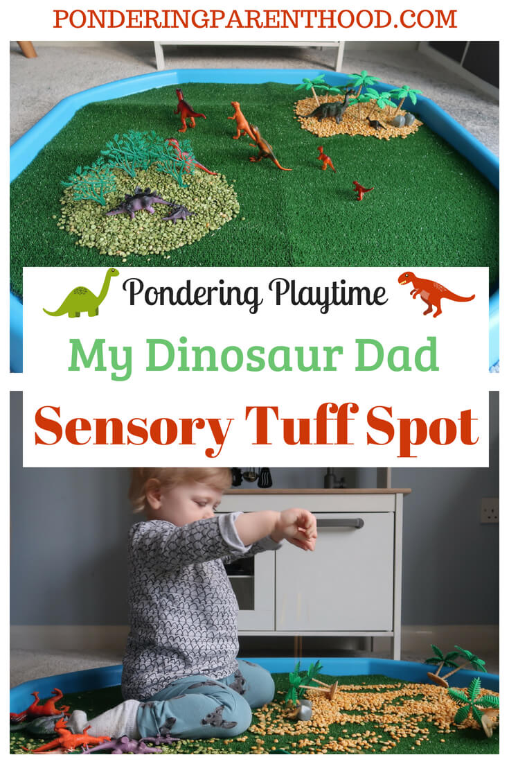 An easy EYFS sensory play idea. Simple dinosaur tuff spot. Easy tuff tray activities.
