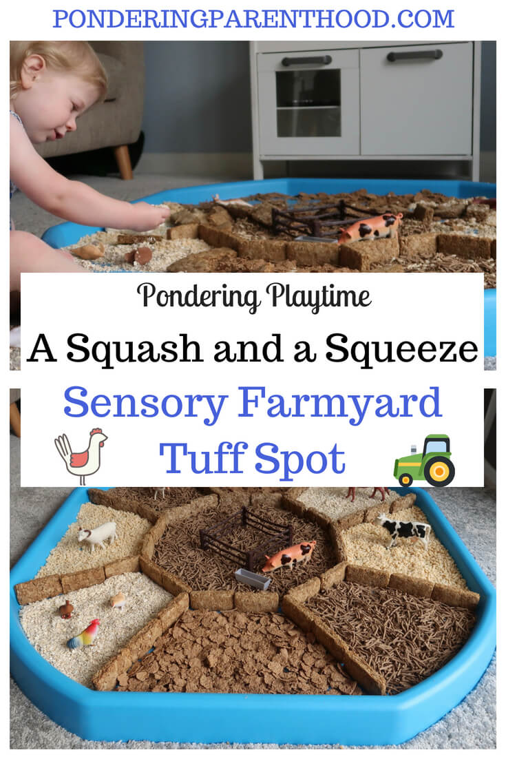 An easy cereals sensory tuff spot linked to A Squash and a Squeeze by Julia Donaldson.