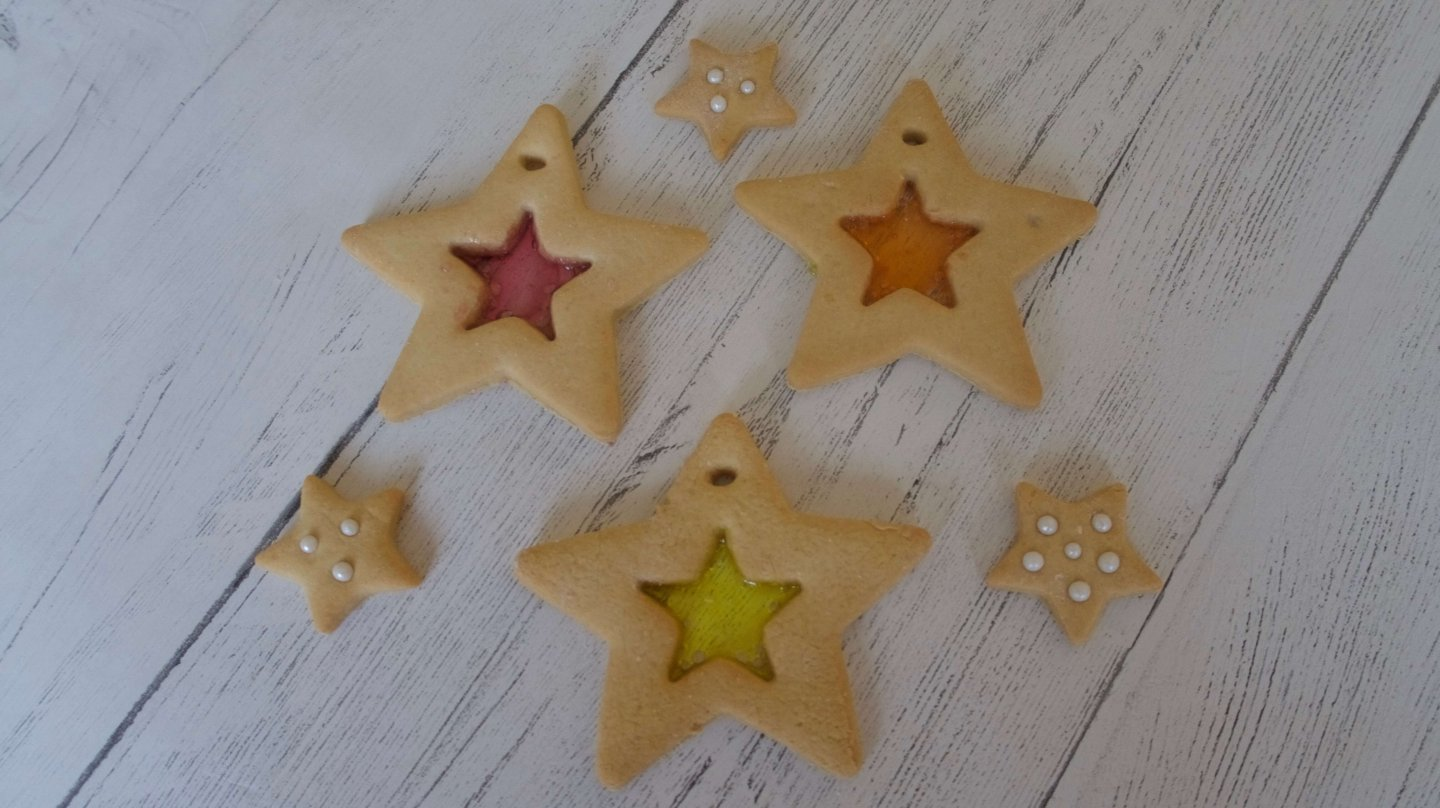 Gluten Free Stained Glass Window Christmas Star Biscuits
