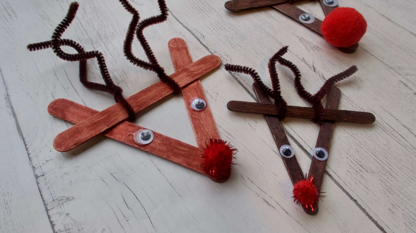 Lolly Stick Reindeer Decorations