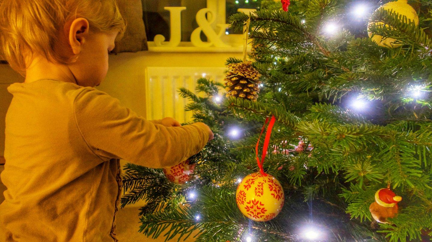 M decorating the tree