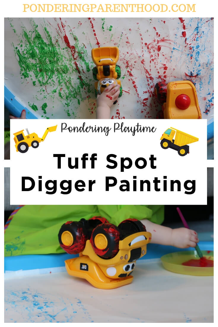 Dig Dig Digging tuff spot digger painting activity. #earlymarkmaking