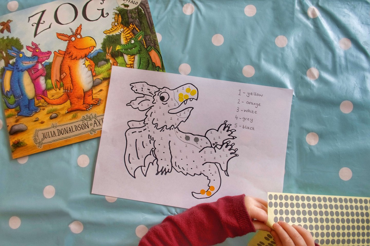 Zog Sticker by Numbers Activity