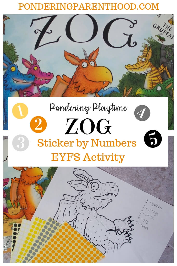Zog by Julia Donaldson Sticker by Numbers EYFS activity