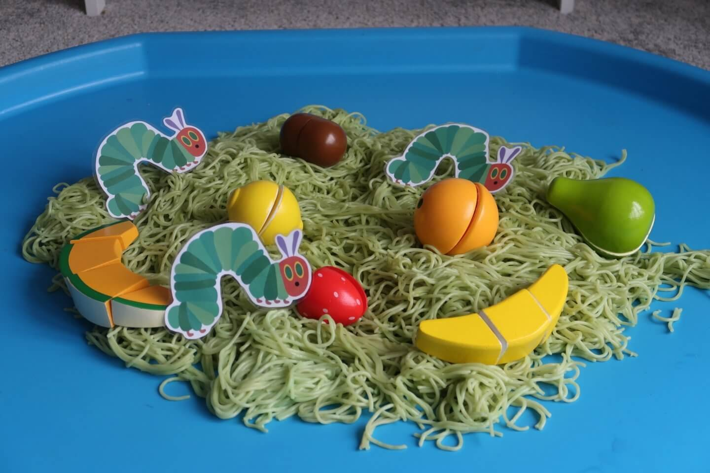 The Very Hungry Caterpillar sensory tuff spot