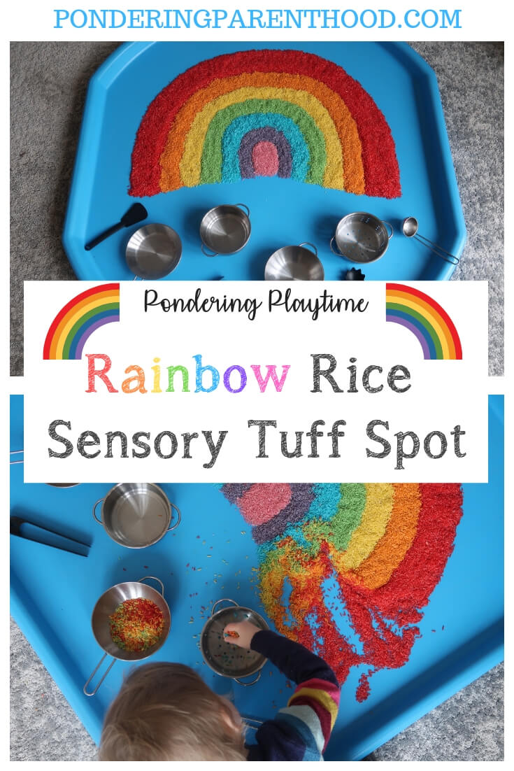 Wondering how to make rainbow rice for sensory play? Here's my brilliantly engaging rainbow rice tuff spot activity. Lots of fun and easy to do! #EYFS #sensoryplay