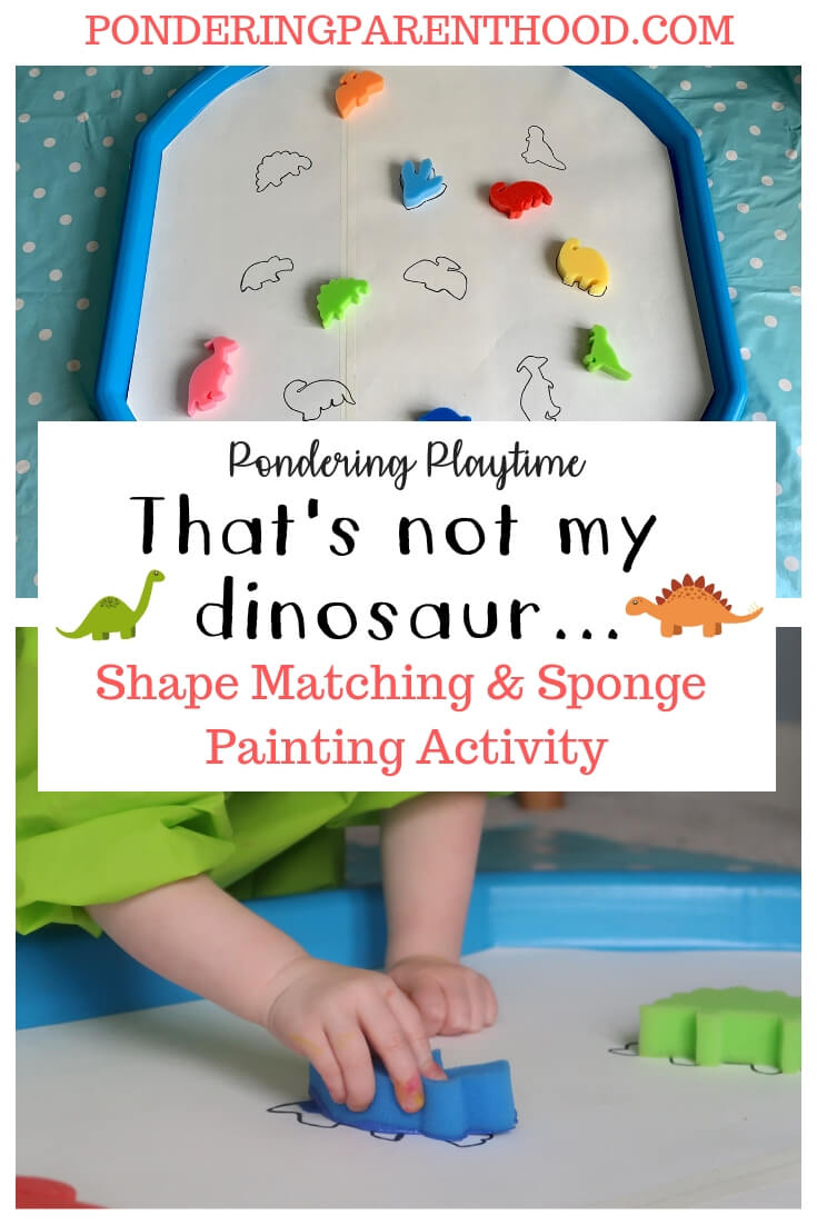 Looking for EYFS activities linked to That's Not My Dinosaur? Check out this shape matching, sponge painting tuff spot activity! #tuffspotideas